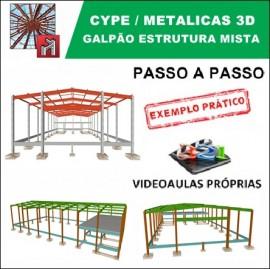 CURSO - CYPE / METALICAS 3D 2019  - GALPÃO MISTO COM TESOURA EM PERFIL I, PILARES E MEZANINO EM CONCRETO ARMADO