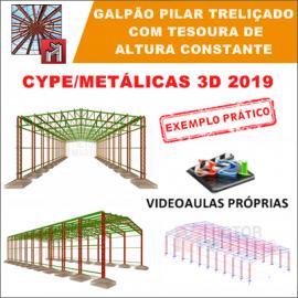 CURSO - CYPE / METALICAS 3D 2019 - PILAR TRELIÇADO COM TESOURA DE ALTURA CONSTANTE