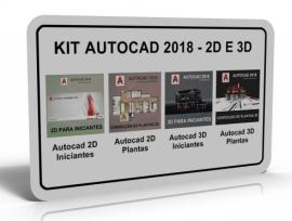 KIT AUTOCAD 2018 - 2D E 3D (4 CURSOS)